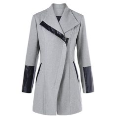 Wool Blend Leather Panel Coat (61 BRL) ❤ liked on Polyvore featuring outerwear, coats, genuine leather coat, leather coat, wool blend coat, real leather coats and light grey coat