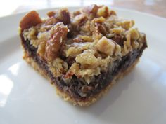 ***serendipity deluxe bars -- shortbread, chocolate truffle filling, caramelized oatmeal topping