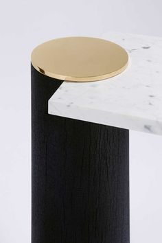 For Sale On   A Tribute To Brancusi Collection, Design Hervé Langlais,  Charred Wood Legs With Polished Brass Discs, Tabletop In Carrara Marble.