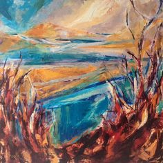 Burgh Island View by Diana Booth from the 3 Media Mix exhibition at Harbour House, July 2017