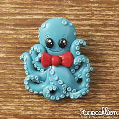 Octopus Polymer Clay Brooch by rapscalliondesign on Etsy, $25.67