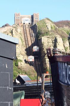 Funicular Railway, Hastings - notice castle like structure and large curved…