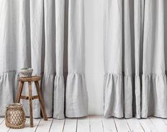 Tab top linen curtain panel in two colors. Colour block window | Etsy