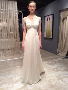 Jenny Packham bridal gown, wedding gown, ivory, beaded neckline, sleeves