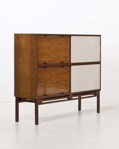 Ilmari Tapiovaara; Walnut and Upholstery Cabinet for Ditta Tonelli & Broggi, 1957.