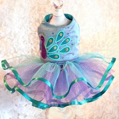 Gorgeous silk dog dress covered in Swarovski crystals by Tinkerbell's Closet