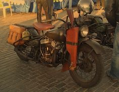 STRANGE OLDE WWII MOTORCYCLES - SADDLE BAGS - RIFLE HOLSTER - CANTEEN