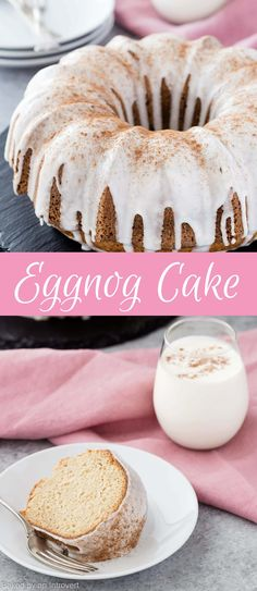 This Eggnog Cake is similar to a boozy spice cake. It's topped with a rum glaze and perfect for the holidays. via @introvertbaker