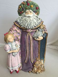 Hand Painted Ceramic Santa with Young Girl 24 K Gold Large 14 In Victorian Style