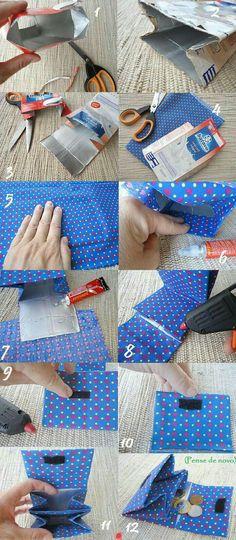 Billetera hecha con caja de leche