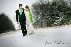 A pop of color among the white winter landscape! Walking in a winter wonderland... #winterwedding www.libbyjames.com