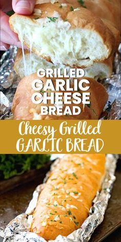 Gluten Free Recipes For Dinner, Dinner Recipes, Grilling Recipes, Cooking Recipes, Bread Recipes, Cheesy Garlic Bread, Garlic Bread In Oven, Amazing Food Videos, Grilled Bread