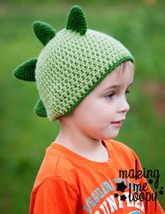 Dino Spiked Crochet Beanie Hat  Photography Prop by makingmeloopy, $15.00