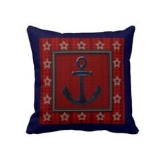Ship's Anchor and Stars Nautical Pillow  Design features a navy blue background with a red plaid overlayed with stitched-look stars framing a blue ship's anchor. Design is repeated on back. Note that all embellishments are printed (not raised).