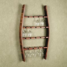 Wall Mounted Wine Glass Rack | Wine glass rack from wine barrel wall mounted | DIY