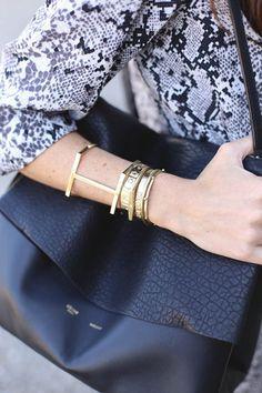 Fashion: New York City Style. Layering Gold Bracelets and Bangles.