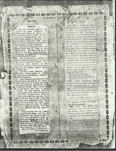 Obituaries of William Baxter Jordan and his second wife, Martha Gammill Second Wife, Rose Family, Jordans