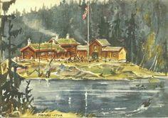 Kunstnerkort Chrix Dahl Tryvass- stua -Utg Damm 1930-tallet