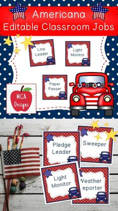 This set of patriotic themed classroom job labels are part of my Americana Classroom Décor collection. In addition to the labels listed below, I have included an editable file to help you personalize this product to suit your needs. Each classroom job label is accented with bright colors and patriotic themed graphics! #teacherspayteachers #tpt #backtoschool #classroommanagement