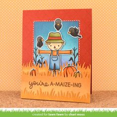 Lawn Fawn - Happy Harvest, Argyle Backdrops, Grassy Border, Stitched Rectangle Stackables _ card by Chari for Lawn Fawn Design Team