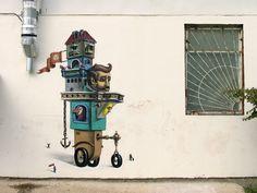HUMAN MACHINE  Piece by Interesni Kaszki, a Ukrainian street art duo with a lot of awesome ideas