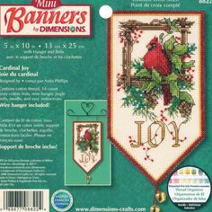 Counted Cross Stitch: Holiday Collection Banner. Add a little extra color and fun to your holiday festivities with these phenomenal kits by Dimensions.  This kit contains 14 count Aida; cotton embroidery floss; wire hanger; bells; needle and instructions.