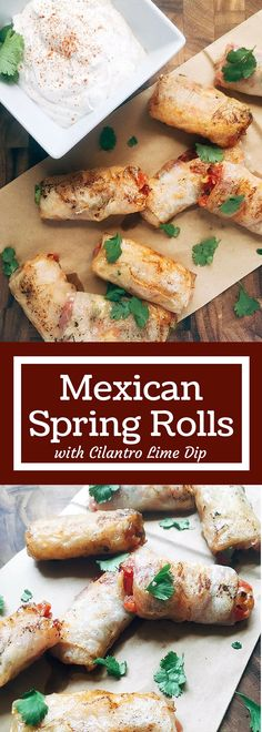 These Mexican Spring Rolls are a fun twist on appetizers and snacks. Pico de gallo is wrapped inside spring roll wrappers for Mexican-Asian fusion. The cool Cilantro Lime Dip is a perfect for dunking! They will be gone in seconds!   Three Olives Branch