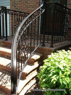Custom Wrought Iron Residential Railings Raleigh Wrought Iron Co. Porch Step Railing, Wrought Iron Porch Railings, Porch Handrails, Exterior Stair Railing, Outdoor Stair Railing, Iron Handrails, Front Porch Steps, Railing Ideas, Deck Railings
