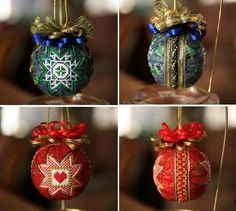 """Xmas baubles to X-stitich, amazing website! these are made from the pattern book I have had """"FOREVER"""""""