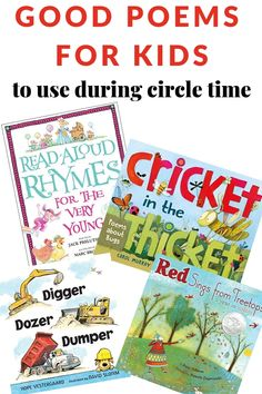 Try these tips and resources when searching for good poems for kids to use during circle time. Individual poems and poetry book recommendations included. Includes a printable book list. Preschool Literacy, Literacy Activities, Preschool Music, Best Poems For Kids, Poetry Books For Kids, Poetry Unit, Rhyming Poems, Poetry Activities, Read Aloud Books