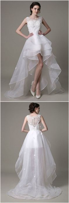 Chic A-line Scoop Neck Asymmetrical Organza Wedding Dress With Lace