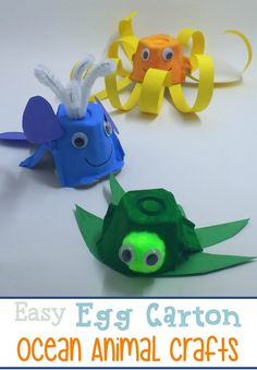 These egg carton ocean animals are the perfect summer preschool craft! They can be made with household items, and your little ones will love getting creative!   homeschoolpreschool.net