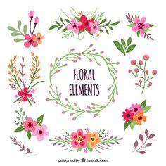 Elementos florais Vetor grátis