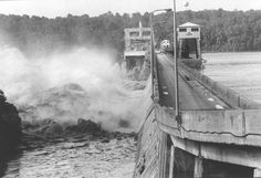 June 24, 1972 - The swollen Susquehanna River pushes through the straining Conowingo Dam
