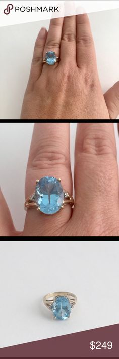 Vintage Blue Topaz & Diamond 10k gold ring A stunning blue topaz and diamond ring set in 10kt gold! This piece is so beautiful and really pops on your finger! I am unsure of the carat size of the Topaz but as you can see from the photos, it's quite large. The diamonds are small chip diamonds but they still sparkle! Stamped and tested as 10k gold. Approx size 6-7. Overall good used condition with light wear, nothing major. Sorry NO TRADES OR LOWBall offers please. 💎💕💎 Vintage Jewelry Rings