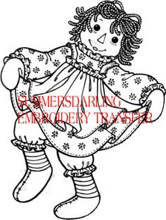RAGGEDY ANN DANCING EMBROIDERY TRANSFER PATTERN