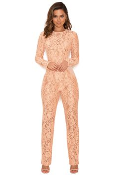 Clothing : Jumpsuits : 'Kenna' Peach Lace and Mesh Jumpsuit