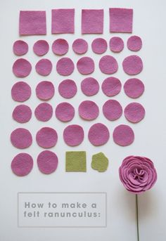 All the felt flower petals you'll need to make a darling ranunculus flower!