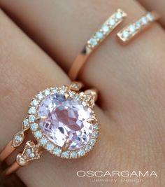 Engagement ring 14kt Pink gold Morganite set purplish pink