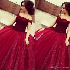 Girls Sweet 16 Prom Quinceanera Dresses Shiny Sequins Appliques Long Puffy Ball Gown Off Shoulder Burgundy Tulle Vestido 15 Anos Quinceanera Dresses Custom Made Size LongQuinceanera Dresses Custom Made Size Prom Dresses Online with $228.58/Piece on Beautyu's Store | DHgate.com