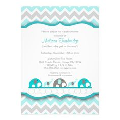 Turquoise blue & gray elephant Baby Shower Invites