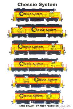 "Chessie System Locomotives 11""x17"" Poster by Andy Fletcher signed $15"