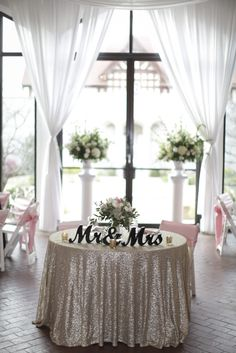 Erin Trent Tie the Knot| Atlanta Wedding | Loved the sweetheart table with the sequin linen | Planner: www.eventsbybsimms.com