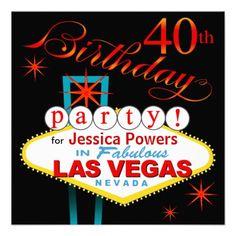 Las Vegas 40th Birthday Party Invites