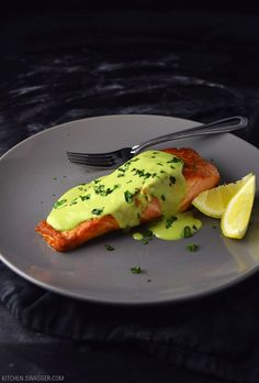 Delicious pan-seared salmon with creamy avocado, basil, and lemon based sauce. The perfect combination of complimentary flavors.