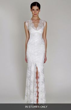 BLISS Monique Lhuillier Chantilly Lace Open Back Wedding Dress (In Stores Only) available at #Nordstrom