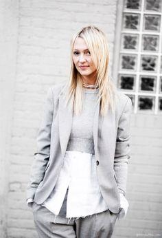 Grey suit, cropped sweater, white shirt, silver necklace / Garance Doré