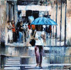 "www.grechgaleria.com  ""Lluvia de paso"" oleo a espátula sobre lienzo 40 x 40 cm."