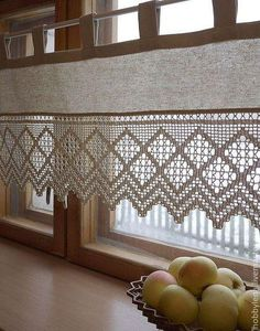 Las cortinas a crochet para cocina como no las has imaginado crochet curtains for small kitchen 30 Great ideas forSee our selection with coCrochet book – Book in Crochet Curtains, Lace Curtains, Curtains With Blinds, Crochet Doilies, Crochet Kitchen, Crochet Home, Kitchen Window Treatments, Curtain Designs, Kitchen Curtains