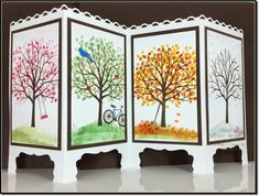 Stampin' Up! -- Sheltering Tree -- Folded Screen Card Measurements: Whisper White card base is x scored at and Early Espresso panels are 2 x 4 Whisper White panels are 2 x 4 Fancy Fold Cards, Folded Cards, Screen Cards, Rena, Up Book, Shaped Cards, Stamping Up Cards, Fall Cards, Card Making Inspiration